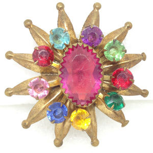 vtg multicolor glass rhinestone star brooch pin